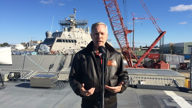 U.S. Secretary of the Navy Ray Mabus speaks on the deck of the littoral combat ship Little Rock during a visit Monday to Fincantieri Marinette Marine. The ship is scheduled to be commissioned next year.