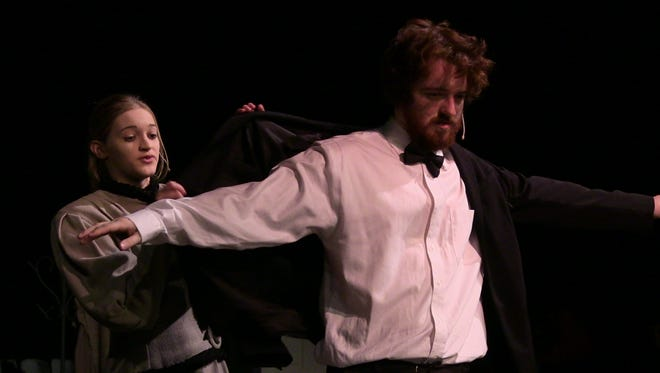 """Lakeview High School actors Abbey Bailey Reeve Llynn-Hillman in rehearsal for """"Mary Poppins,"""" which opens Saturday."""