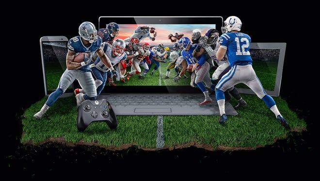 Promotional art for DirecTV's NFL Sunday Ticket and NFLST.TV.