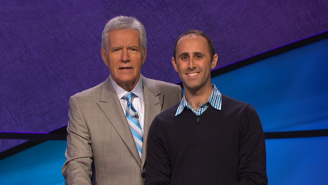 """Garrett Levenbrook of Montclair, right, will be on the Dec. 13 episode of the game show """"Jeopardy,"""" hosted by Alex Trebek."""
