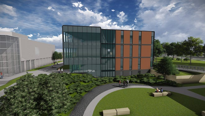 A rendering of the Collier-Scripps Hall (the School of Education building) that is part of a new STEM@Drake campus, a $65 million project slated to open in summer of 2017. The 55,000 square-feet of added space and current renovations will house seven new academic programs from data analytics to kinesiology.