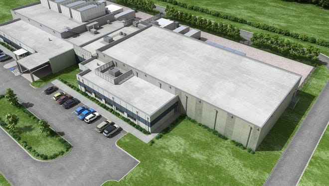 An rendering of the existing TierPoint's data center building and the expansion planned at 311 Eddy Lane in Franklin.