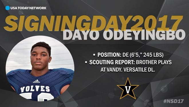 2017 Vanderbilt football recruit