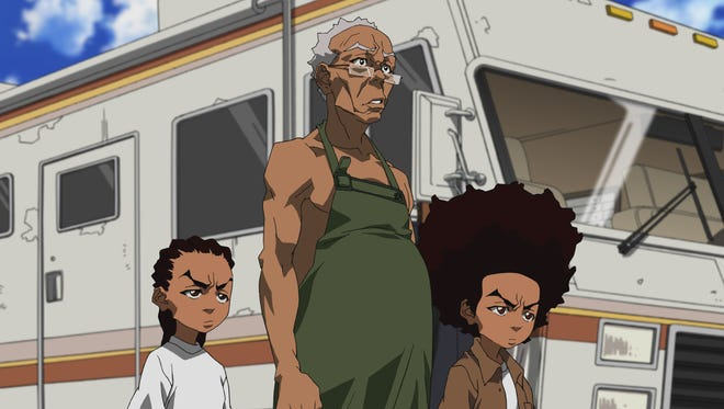 """Riley, Granddad and Huey hit the road in a scene from the animated series """"The Boondocks,"""" which aired on Adult Swim. The complete series will join the lineup on Hulu Feb. 18."""