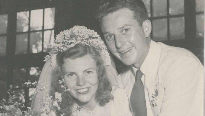 Bill and Priscilla Wilcox on their wedding day in 1948.