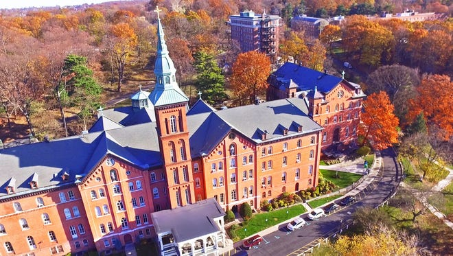 An aerial view of Founders Hall, on the campus of the College of Mount Saint Vincent in Riverdale