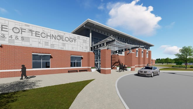 A rendering of the front entrance of the Anderson Institute of Technology, a career center that will serve Anderson School Districts 3, 4 and 5.