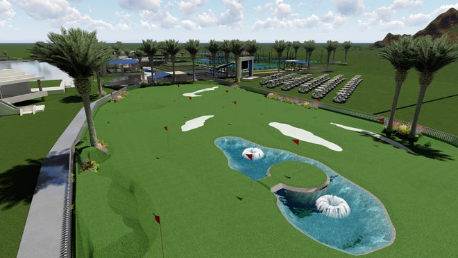 This rendering of the proposed new sports club at PGA West by Designs by Kaveh includes a drive-in movie theater and 22-hole putting course.