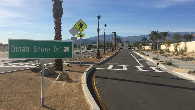 A Dinah Shore Drive extension faces south toward Gerald Ford Drive in Palm Desert. A dedication ceremony was set for Wednesday to commemorate the completion of the project.