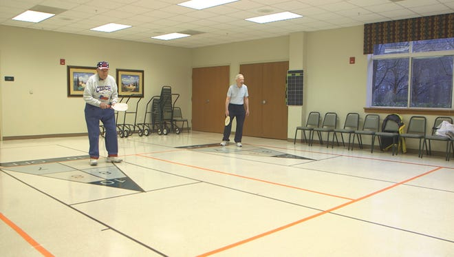 Residents of the Seabrook Retirement Community in Tinton Falls, NJ play their semi-weekly game of Pickleball