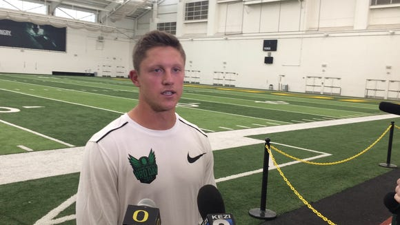 Former Oregon quarterback Dakota Prukop talks to the media at Oregon Pro Day.