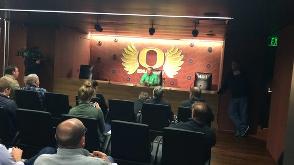 Willie Taggart talks to the media on Tuesday ahead of the spring practice opener, which is set for Wednesday.