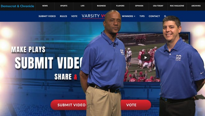 "Sportswriters James Johnson and Jeff DiVeronica talk about the new ""Varsity Voices Play of the Year,"" in a video at www.DemocratandChronicle.com. The school featured in winning play will earn a $500 donation for its athletic department from D&C Digital."