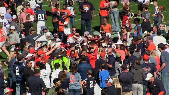 Somewhere in that crowd is Auburn quarterback Jarrett