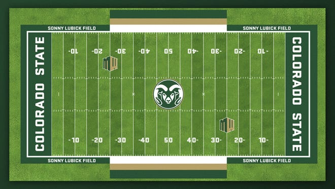 The graphic design of the playing field for CSU's new football stadium was unveiled Monday. Installation of the artificial turf surface is scheduled to begin this week, school officials said.