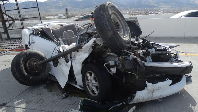 A photo showing the crash that killed Carson City resident Filipe Segura. The crash occurred after a trailer became unhitched from a truck traveling southbound on Interstate 580 on April 6, 2017.