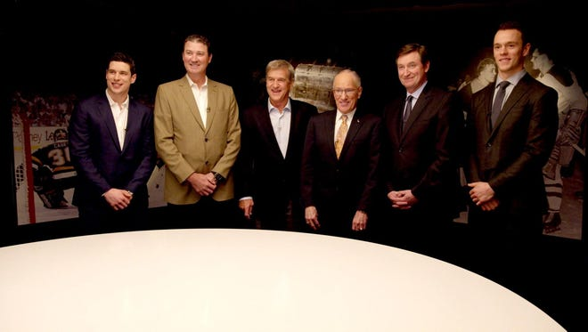 Sidney Crosby (left), Mario Lemieux, Bobby Orr, Mike Emrick, Wayne Gretzky and Jonathan Toews will sit down for a roundtable discussion in 'Game Changers.'
