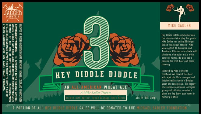 """The label for the bottles of """"Hey Diddle Diddle"""" wheat ale that will be served June 1 at the Colorado Spartan Social in Denver."""