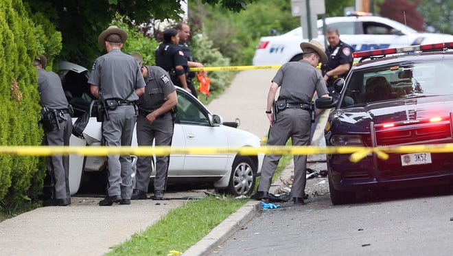 New York State Police, Westchester County Police and Peekskill Police at scene of fatal accident on Hudson Street in Peekskill May 27, 2017.