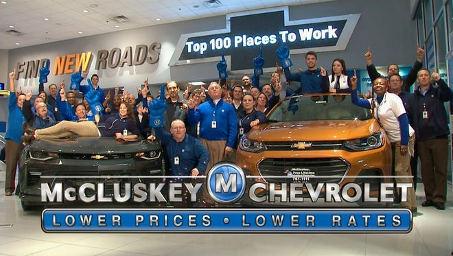 McCluskey Chevrolet has been ranked as a top Cincinnati workplace for two years running