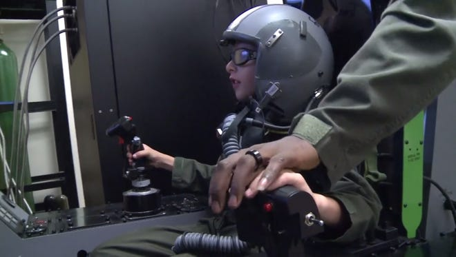 Aidan Flippo's dream of being a pilot came true when he visited the 33rd Fighter Wing.