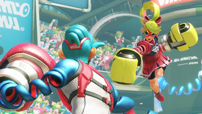 Spring Man and Ribbon Girl clash in ARMS for the Nintendo Switch.