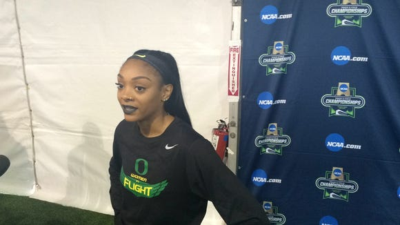Oregon's Deajah Stevens advanced to the finals in both the 100 and 200.