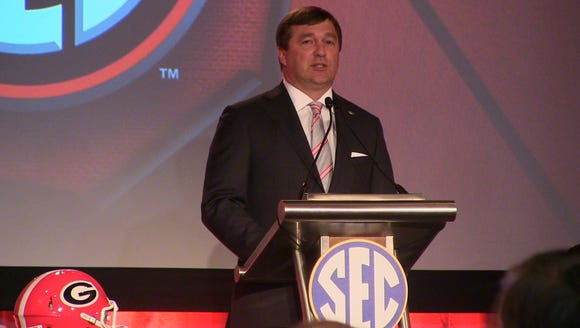 Georgia coach Kirby Smart addresses the media on Day