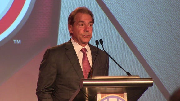 Nick Saban addresses the media at SEC Media Days in Hoover.