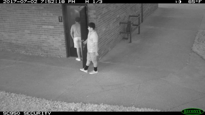 Video surveillance still of Pulaski Park in Manitowoc. Officers responded to the park July 3 for the report of fire damage to the men's restroom.