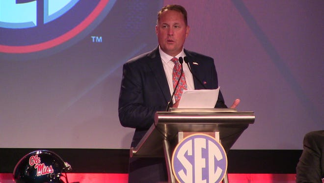 Hugh Freeze addresses the media at SEC Media Days last week in Hoover. Freeze has since resigned as head coach at Ole Miss after being linked to a call to a female escort service from a university-issued phone.