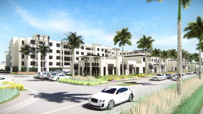 A project rendering shows the view from Central Avenue of the future 210-unit condominium project at the old Naples Daily News site.