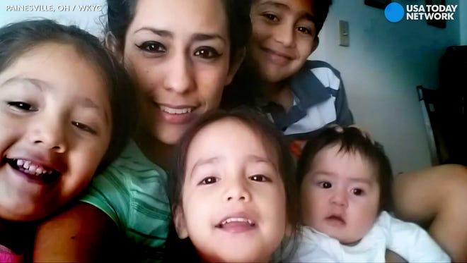 Beatriz Casillas and her children.