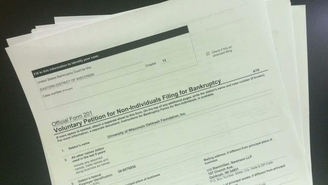 The University of Wisconsin Oshkosh Foundation filed for Chapter 11 bankruptcy  Aug. 17, 2017.