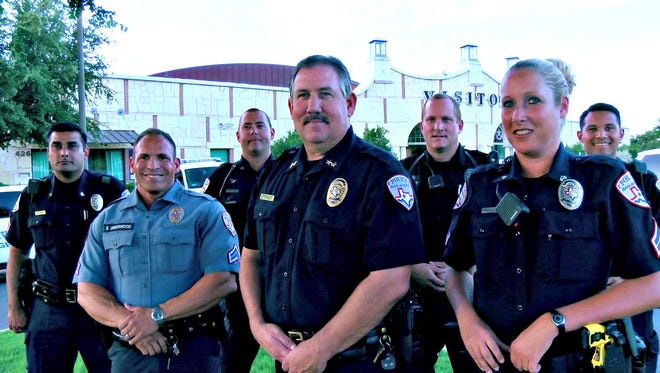 Officer Tina Burks (front far right) is featured on the recruiting section of the SAPD's website.