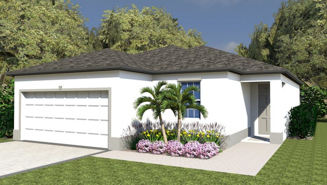 An artist's conception of the Girasol, a three-bedroom, two-bath home available at Arrowhead Reserve.