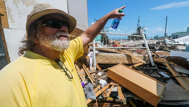 George Lopez talks about how there is nothing left of his mobile home. Sea Breeze RV and Mobile Home Park in Islamorada, FL, was devastated by Hurricane Irma. Many of the Mobile home owners were in the park trying to salvage anything they could from their homes on Wednesday, September 13, 2017. Some of the mobile homes were flooded, moved, or completely destroyed.