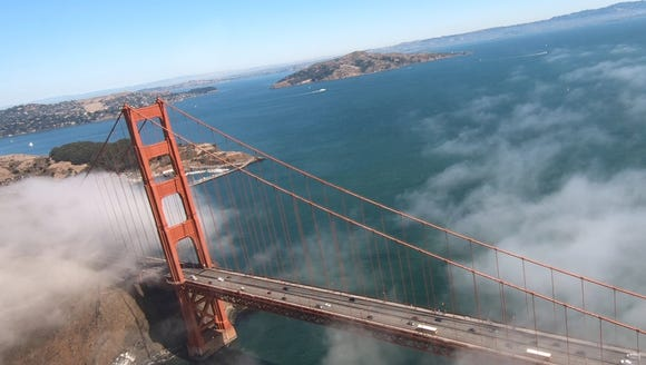 Flying over the Golden Gate Bridge in a seaplane, captured