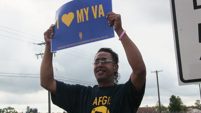 AFGE Local 1629 President Kenneth Cheek protested VA job vacancies Wednesday afternoon.