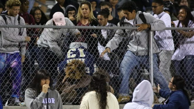 A fight broke out in the home stand at Desert Hot Springs High School before the start of a home game against Coachella Valley Friday, October 20, 2017. The principal of Desert Hot Springs cancelled the game.