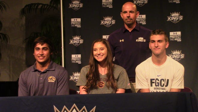 SFCA athletes, left to right, Max Rippl (baseball), Courtney Curtis (volleyball) and Caleb Catto (basketball) signed Division I scholarships.