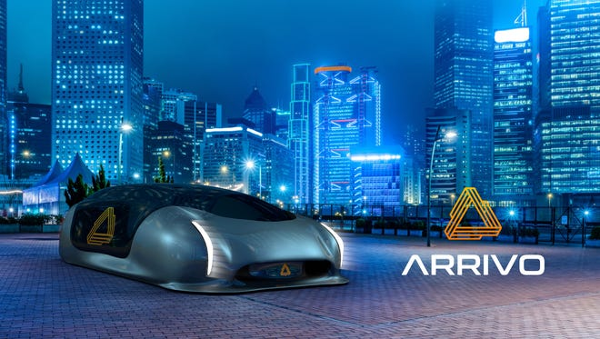 Arrivo's hyperloop-type system features a platform/pod that envelopes a car and then scoots it along a tube at speeds up to 200 mph.