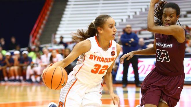 Syracuse University redshirt junior Miranda Drummond (Harpursville) is averaging 16.4 points and 6.9 rebounds in her first season with the Orange.