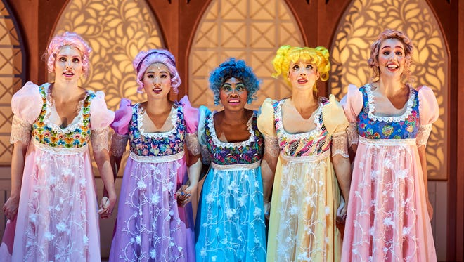 "The five title characters of Ensemble Theatre Cincinnati's world premiere production of ""The Dancing Princesses,"" written by Joseph McDonough and David Kisor. From left, they are Maggie Cramer, Rebecca Wei Hsieh, Samantha Russell, Brooke Steele and Maya Farhat."