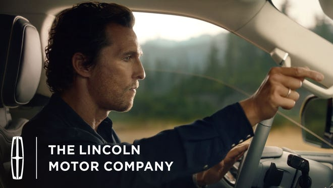 Actor Matthew McConaughey in new Lincoln automobile ads.