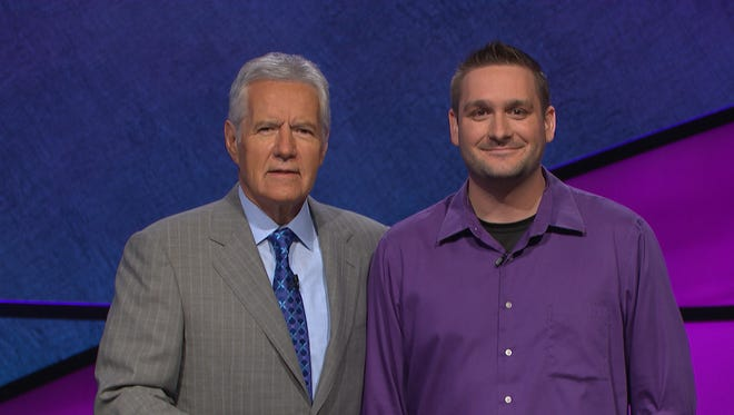 Alex Trebek and Steve Garbacz on the set of Jeopardy. The episode featuring the Purdue alum will be Monday.