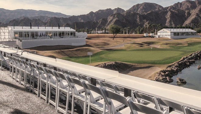 View of 18 green from the balcony attached to the Vons Fan Pavilion at the CareerBuilder Challenge. Fans can pickup food from this area near the 18th green.