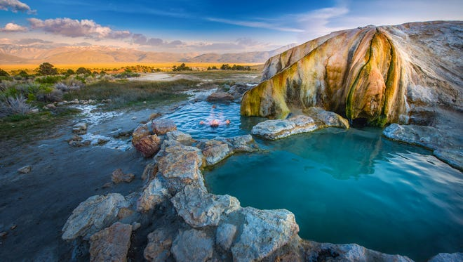 Travertine Hot Springs (Bridgeport, Calif.): This is one of the easiest natural hot springs to get to, and Travertine's beauty is not limited by its accessibility. A great pit stop for Angelenos en route to Lake Tahoe or Mammoth Mountain, this free roadside attraction is perfect for travelers to get a much-needed reprieve from the California traffic or for visitors to get one last parting glance of the Sierra Mountains.