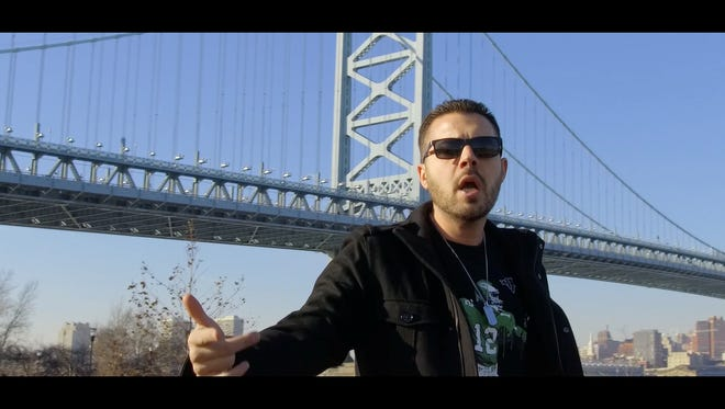 Performing as Augustus, hip-hop artist Michael Marino of Collingswood pays tribute to the love South Jersey has for Philadelphia, and the bridge that joins them together. 'Ben Franklin Bridge, the anthem, is on an EP produced by Sudoxe of Paper Lion, with lyrics  written by Augustus and video directed by Planetary P.