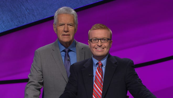 Sean Udicious of Cherry Hill (right) will appear Monday night on Jeopardy! with host Alex Trebek.